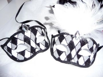 His & Hers Black & White Harlequin Masks